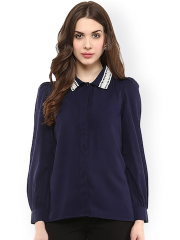 La Zoire Women Navy Blue Regular Fit Solid Party Shirt at myntra