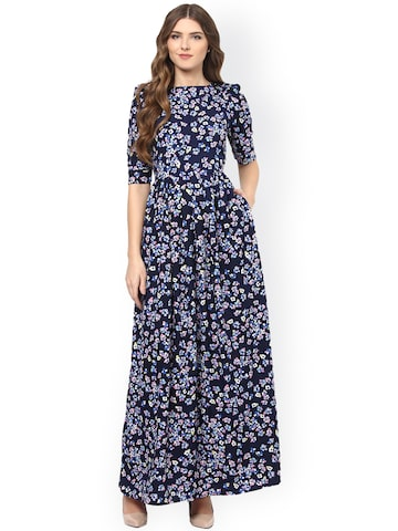 La Zoire Women Navy Printed Maxi Dress at myntra