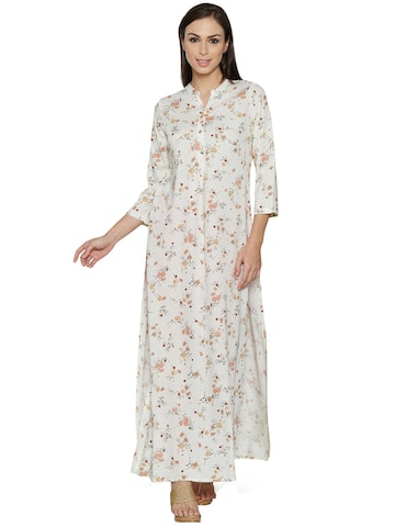 Raindrops Women Off-White Printed Straight Kurta at myntra