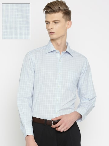 Arrow Men White & Blue Regular Fit Checked Formal Shirt at myntra