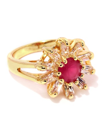 Rubans Gold-Toned & Pink Stone-Studded Floral Ring at myntra