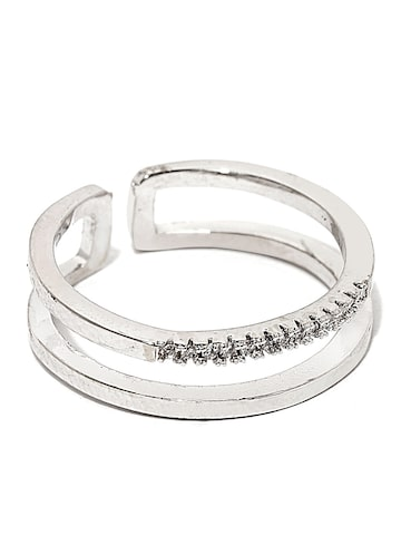 Rubans Silver-Toned Stone-Studded Double-Lined Open-Ended Ring at myntra