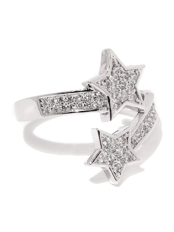 Rubans Silver-Toned Stone-Studded Open Ended Ring at myntra
