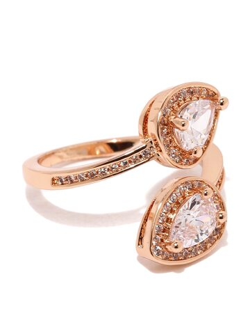 Rubans Rose Gold-Toned Stone-Studded Open Ring at myntra