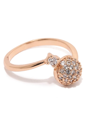 Rubans Rose Gold-Toned Stone-Studded Ring at myntra