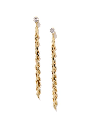 Rubans Gold-Toned Leaf Shaped Double-Sided Drop Earrings at myntra