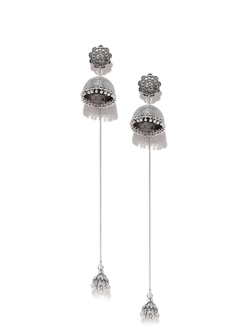 Rubans Silver-Toned Double Sided Drop Earrings at myntra