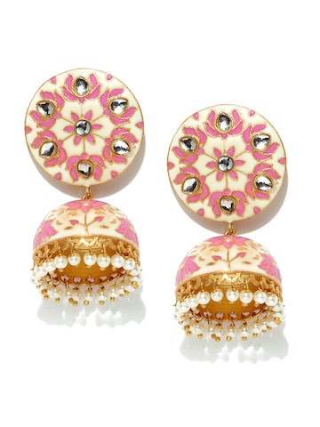 Rubans Off-White & Pink Enamel Kundan Jhumkas with Pearls at myntra