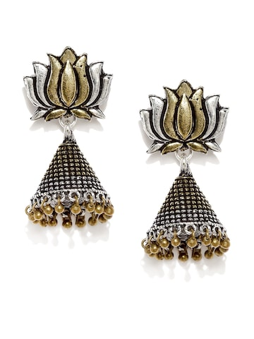 Rubans Antique Gold & Oxidised Silver-Toned Lotus-Shaped Jhumkas at myntra