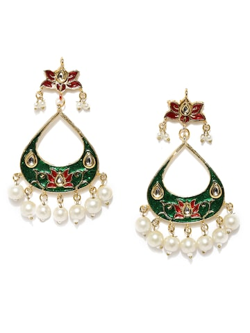 Rubans Gold-Toned & Green Crescent-Shaped Drop Earrings Rubans Earrings at myntra