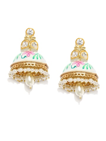 Rubans Gold-Toned & White Hand Painted Kundan Jhumkas at myntra