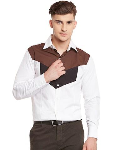 Dazzio Men White & Brown Smart Slim Fit Colourblocked Casual Shirt at myntra