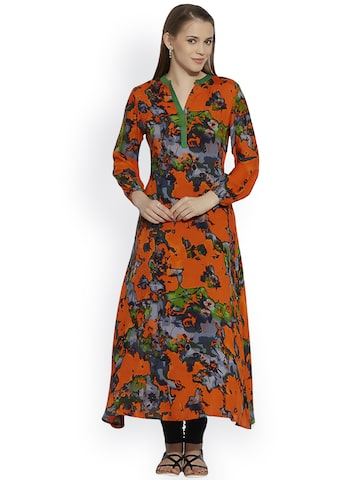 Raindrops Women Orange Printed Anarkali Kurta at myntra