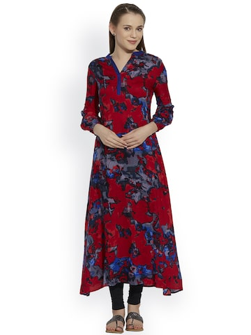 Raindrops Women Red Printed Anarkali Kurta at myntra