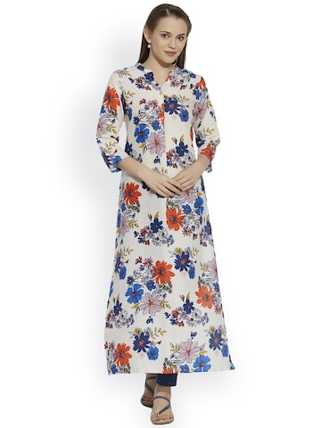 Raindrops Women White Printed Straight Kurta at myntra