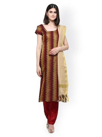 Inddus Maroon Cotton Blend Unstitched Dress Material at myntra