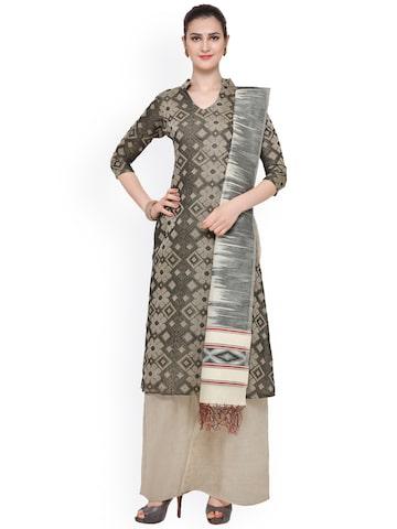 Inddus Beige & Black Banarasi Cotton Blend Woven Design Unstitched Dress Material at myntra