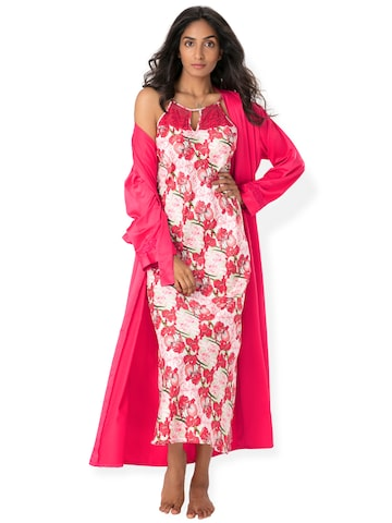 PrettySecrets Pink Floral Print Nightdress NW0030 at myntra