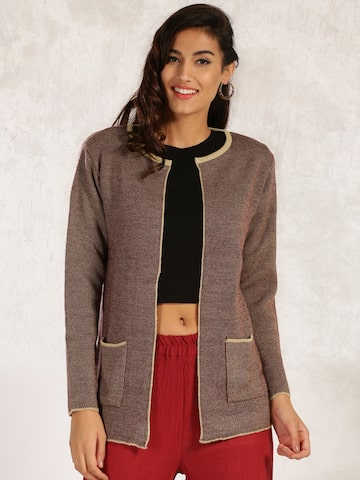 Anouk Beige & Maroon Patterned Shrug at myntra