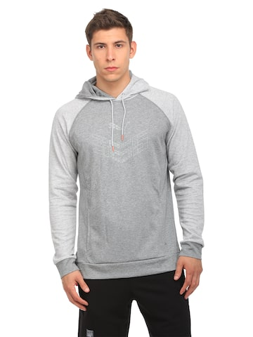 Puma Men Grey Melange 365 Solid Hooded Sweatshirt at myntra
