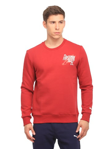 Puma Men Red AFC Graphic Shoe Crew Solid Sweatshirt at myntra