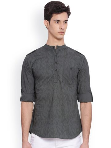 Svanik Men Charcoal Woven Design Straight Kurta at myntra