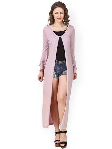Texco Mauve Solid Longline Shrug at myntra