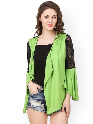 Texco Green Lace Front-Open Shrug Texco Shrug at myntra