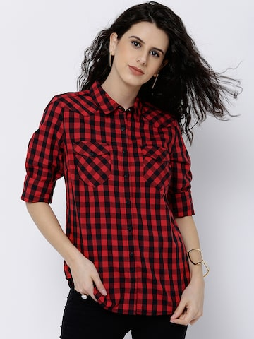 Tokyo Talkies Women Red & Black Comfort Regualr Fit Checked Casual Shirt at myntra