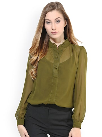 La Zoire Women Olive Green Regular Fit Solid Semi-Sheer Formal Shirt at myntra