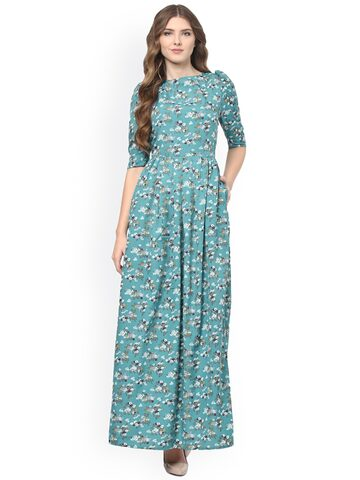 La Zoire Women Teal Blue Printed Maxi Dress at myntra