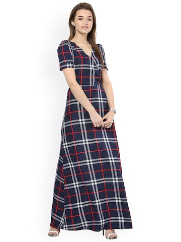 La Zoire Women Navy Checked Maxi Dress at myntra