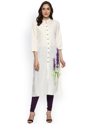 Bhama Couture Women Off-White Solid Straight Kurta at myntra