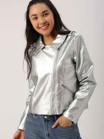 DressBerry Women Silver-Toned Solid Biker Jacket DressBerry Jackets at myntra