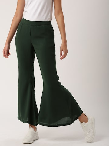 DressBerry Women Green Tapered Fit Solid Bootcut Trousers at myntra