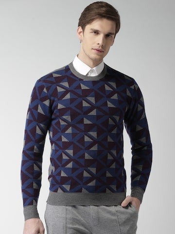 INVICTUS Men Grey & Blue Self Design Pullover at myntra