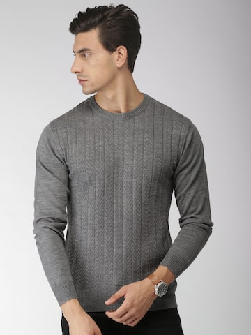 INVICTUS Men Grey Self Design Sweater INVICTUS Sweaters at myntra