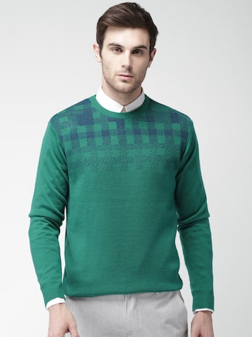 INVICTUS Men Green Self-Design Pullover Sweater INVICTUS Sweaters at myntra