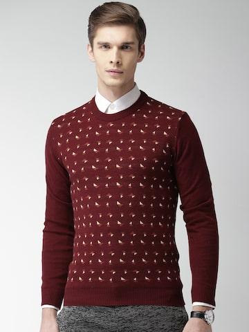 INVICTUS Men Red Self-Design Pullover at myntra
