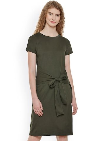Miss Chase Women Olive Green Solid Sheath Dress at myntra