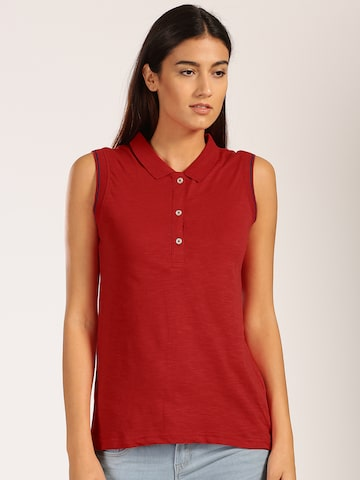 Harvard Women Red Solid Polo T-shirt at myntra
