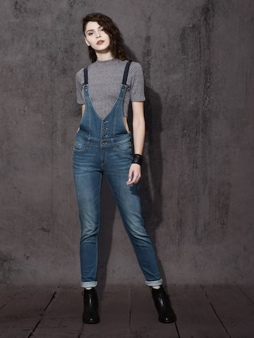 Roadster Blue Denim Dungarees at myntra