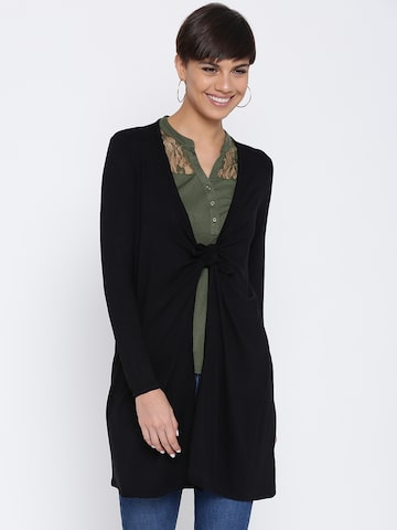 DressBerry Black Longline Shrug with Tie-Up Detail DressBerry Shrug at myntra