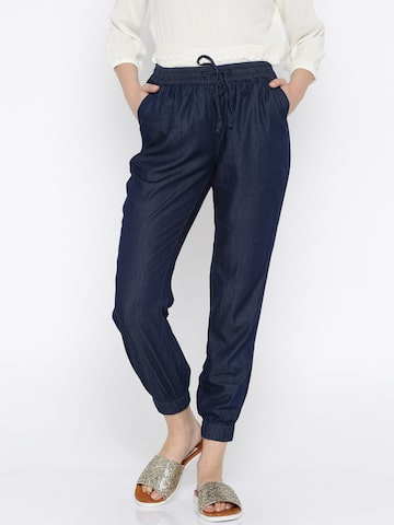 DressBerry Women Blue Regular Fit Solid Joggers DressBerry Trousers at myntra