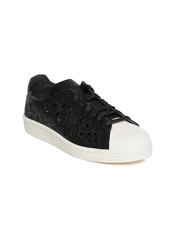 Adidas Originals Women Black Superstar 80S Cut Out Leather Sneakers at myntra