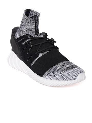 Adidas Originals Men Grey & Black Tubular Doom PK Mid-Top Sneakers Adidas Originals Casual Shoes at myntra