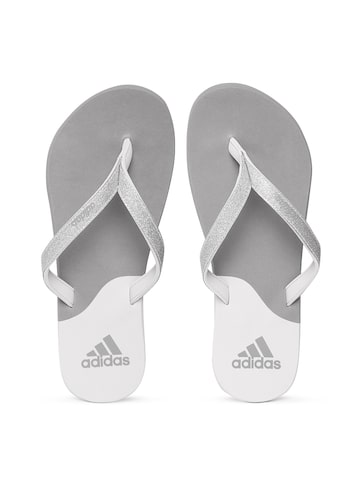 Adidas Women Grey Eezay Glitter Colourblocked Flip-Flops at myntra