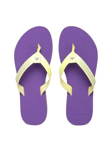 Adidas Women Yellow & Purple Brizo 4.0 Printed Flip-Flops at myntra