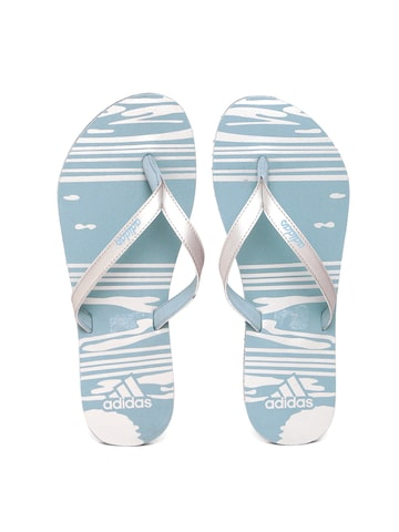 Adidas Women Silver-Toned & Blue Jung Printed Flip-Flops at myntra