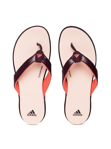 Adidas Women Purple & Pink Cloudfoam One Y Snakeskin-Textured Flip-Flops at myntra
